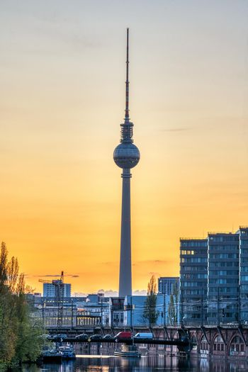 The famous Television Tower in Berlin at sunset
