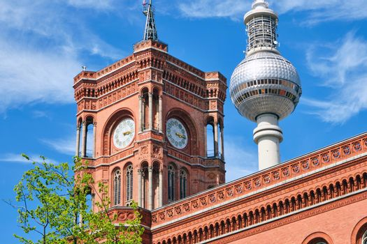 Detail of the tower of the Rotes Rathaus in Berlin