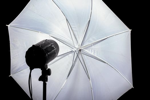 Photo flash and white reflector close up in the dark