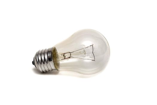 The Glass bulb close up, isolate on a white background