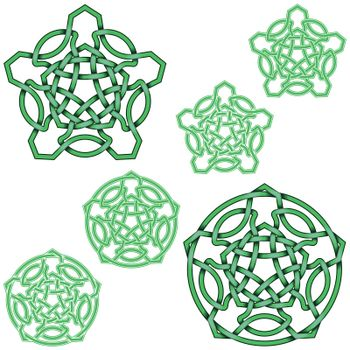 Interlocking five-pointed star design in Celtic style