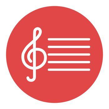 Treble clef vector white glyph icon. Music sign