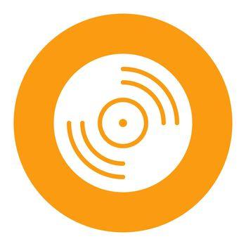 Vinyl record, lp record vector white glyph icon