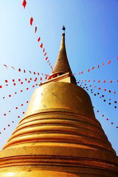 The big golden pagoda of the temple Saket Ratcha