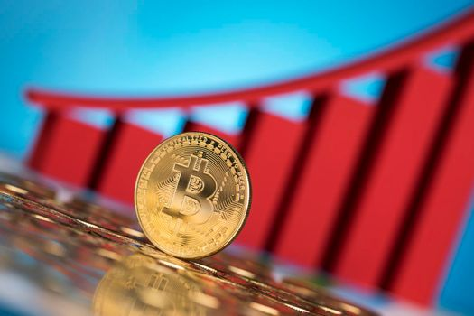 Bitcoins and new virtual money concept, financial chart