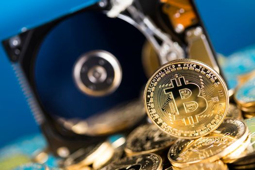 Gold Bitcoin Coin. Buisness and financial background
