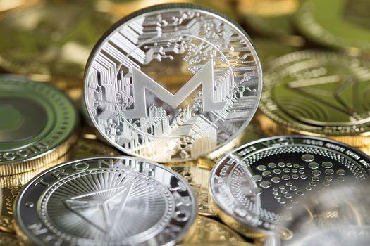 Litecoin,etherium,dash,ripple,iota,monero,zcash,neo,bitcoin, virtual money background