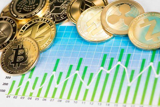Bitcoin, litecoin, etherium coins close up, Virtual money background