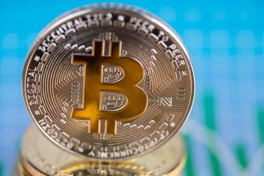 Golden Bitcoin Coin, virtual money, financial concept