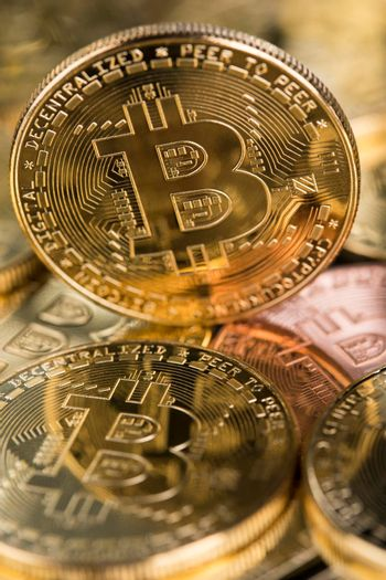 Cryptocurrency concept. Virtual currency background, Bitcoin