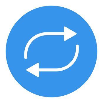 Repeat button vector flat white glyph icon
