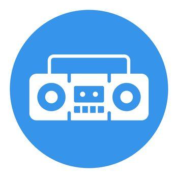 Boombox cassette stereo recorder vector white glyph icon