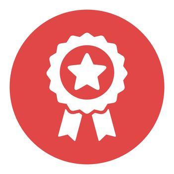 Ribbon award best seller white glyph icon