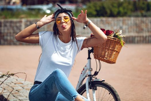Crazy Girl With Bicycle
