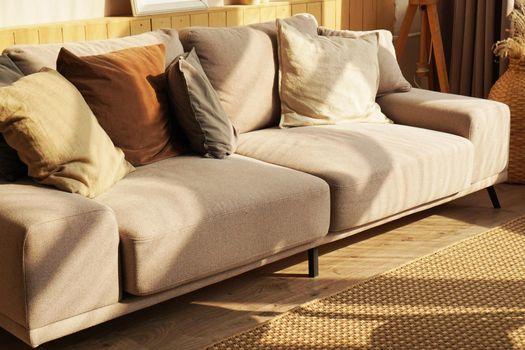 Designer sofa in scandinavian home