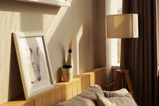 Room in scandinavian style at home, sunny day