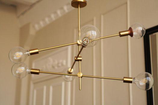 Loft chandelier with bulbs indoor