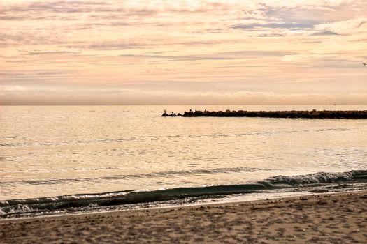Beach at sunset in Santa Pola, Alicante, Spain