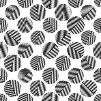 Seamless geometric pattern with circles for texture, textiles, and simple backgrounds. Flat design.