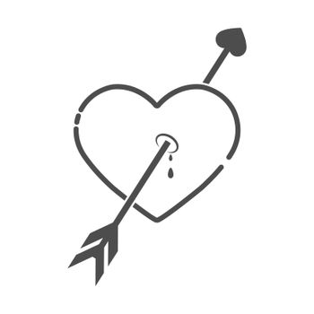 contoured silhouette of a heart pierced by an arrow of love. Flat Style