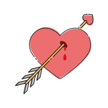 heart struck by the arrow of love