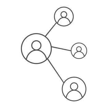 Значок людей изолированный векторный элемент. Символ социальной сети. Люди-это люди. Vector icon of a social network. An element of communication and partnership. Flat Style