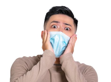 Alarming scared  man in medical mask and afraid of coronavirus infection