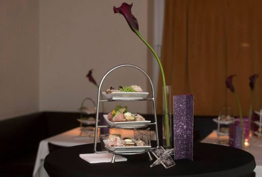 appetizer or antipasti as first course in a meal in gastronomy and catering