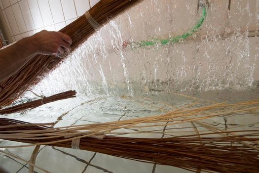 basket weaving in a sheltered workshop, work with disabled or handicapped people