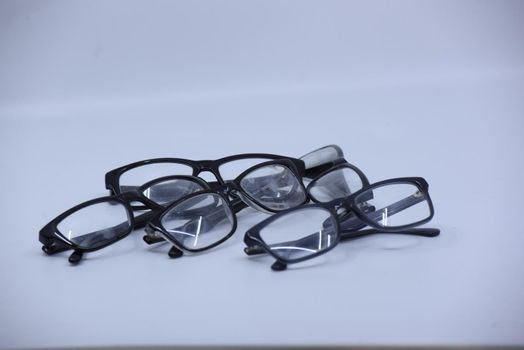 glasses with frame as visual aid for nearsightedness or farsightedness