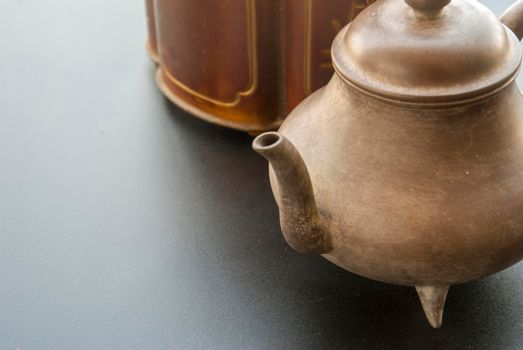 Tea set placed in one corner of the picture