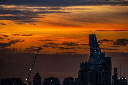 Bangkok, thailand - jul 06, 2019 : Sky view of Bangkok evening view with skyscraper in the business district in Bangkok, City View Urban Downtown Business District Concept.