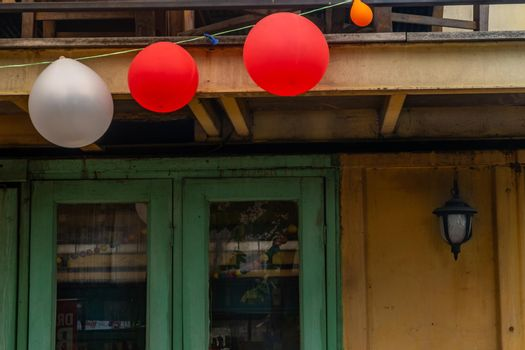 bangkok,Thailand - jun 29, 2019 : Balloons on the bottom of a terrace. Some balloons are flattening after the party