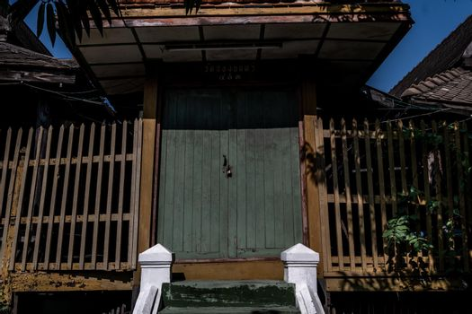 Traditional Thai style wooden door and terrace, The traditional house, Light and Shadow.