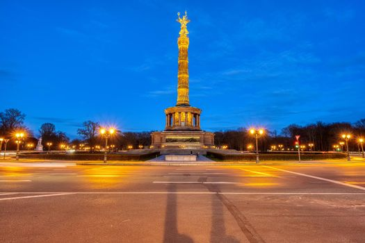 The famous Victory Column in Berlin at night