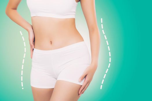 Beautiful sexy body woman with lines and curve with weight loss, skin of waist and cellulite, diet for health, shape body and belly wellness, beauty and healthy care, bodeycare and lifestyles concept.