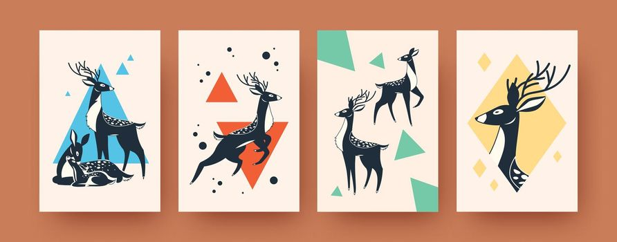 Set of abstract banners with deer in Scandinavian style