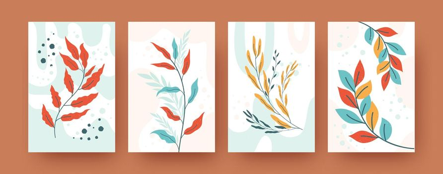Set of abstract botany silhouettes in pastel style