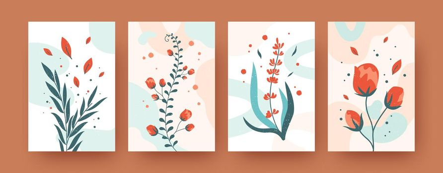 Summer floral collection of contemporary art posters