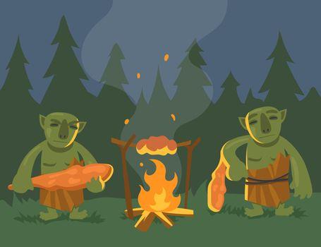 Two cartoon green trolls near bonfire flat vector illustration