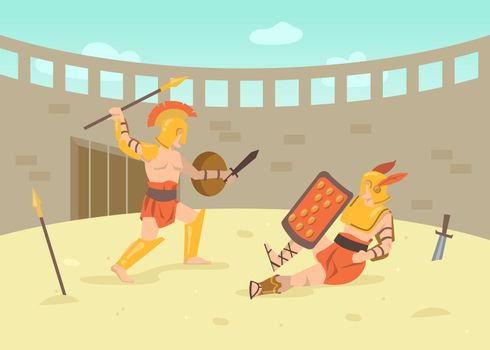 Two roman armored warriors fighting with swords on arena