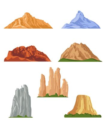 Various mountains flat pictures collection
