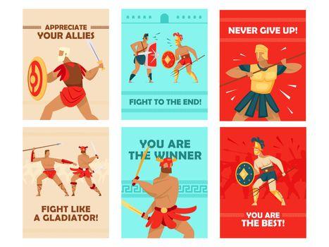 Vivid greeting card designs with gladiators fighting
