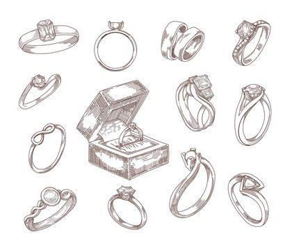 Wedding and engagement rings hand drawn illustrations set
