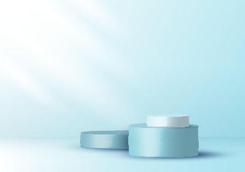 3D realistic elegant display blue and white cylinder pedestal podium on soft blue color studio room background