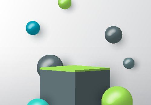3D realistic gray and green square podium for your product showcase with sphere ball decoration on white background