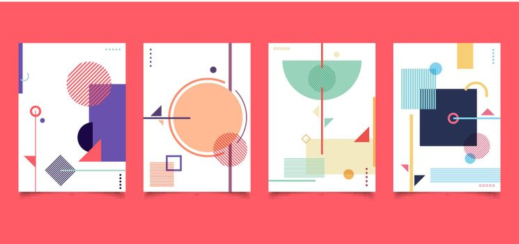 Set of cover brochure minimal style abstract colorful geometric pattern on white background