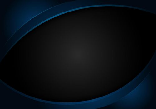 Abstract blue shiny curve shape on black background corporate design template