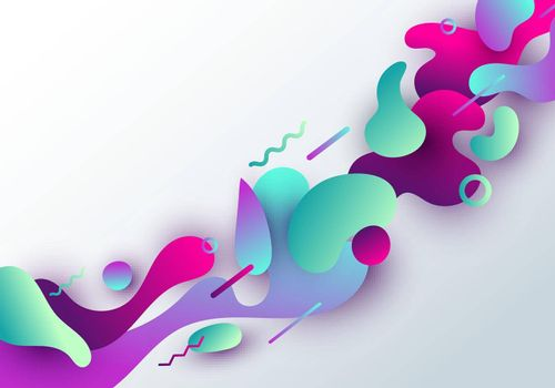 Abstract fluid vibrant gradient shape with geometric design isolated on white background
