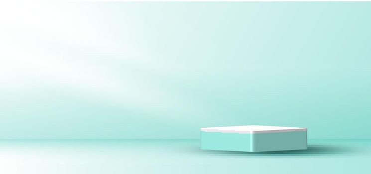 3D realistic white and green mint color cube platform podium with window lighting minimal wall scene background